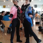 Aeris and Arkenaya's cosplay of Yuri on Ice!